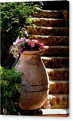 Urn And Flowers Portofino Italy Canvas Print by Xavier Cardell
