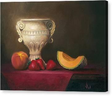 Urn With Fruit Canvas Print by Joe Winkler