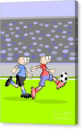 Player Canvas Print - Uruguay And Spain Face In A Soccer Match by Daniel Ghioldi