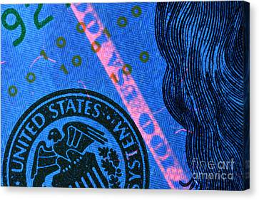 Us 100 Dollar Bill Security Features, 2 Canvas Print by Ted Kinsman