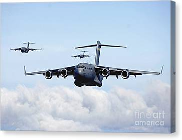 Iraq Canvas Print - U.s. Air Force C-17 Globemasters by Stocktrek Images