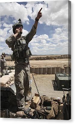 U.s. Air Force Member Calls For Air Canvas Print by Stocktrek Images