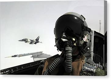 U.s. Air Force Pilot Takes Canvas Print by Stocktrek Images