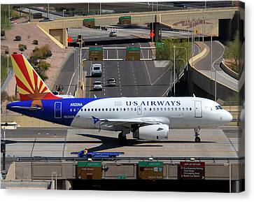 Us Airways Airbus A319-132 N826aw Arizona At Phoenix Sky Harbor March 16 2011 Canvas Print by Brian Lockett
