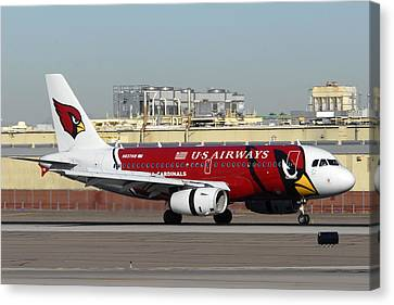 Us Airways Airbus A319 Arizona Cardinals Phoenix Sky Harbor November 10 2010 Canvas Print by Brian Lockett