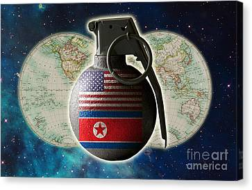 Clash Of Worlds Canvas Print - U.s. And North Korean Conflict by George Mattei