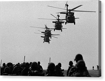 U.s. Army Black Hawk Helicopters Depart Canvas Print