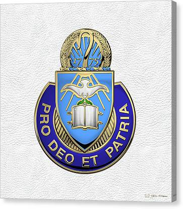 Canvas Print featuring the digital art U.s. Army Chaplain Corps - Regimental Insignia Over White Leather by Serge Averbukh