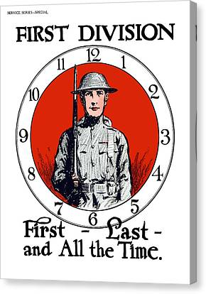 Canvas Print featuring the painting Us Army First Division - Ww1 by War Is Hell Store