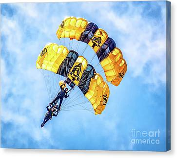 Canvas Print featuring the photograph U.s. Army Golden Knights by Nick Zelinsky
