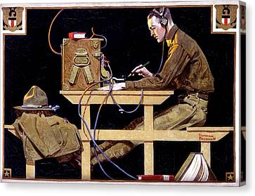 Us Army Teaches A Trade Canvas Print by Norman Rockwell
