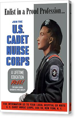 Us Cadet Nurse Corps - Ww2 Canvas Print by War Is Hell Store