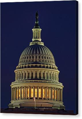 U.s. Capitol At Night Canvas Print by Nick Zelinsky