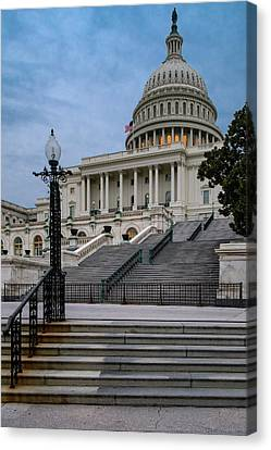 Canvas Print featuring the photograph Us Capitol Building Twilight by Susan Candelario