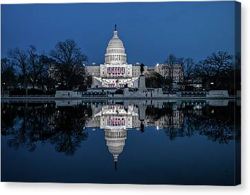 U.s. Capitol Reflection Before Inauguration Canvas Print by Matailong Du
