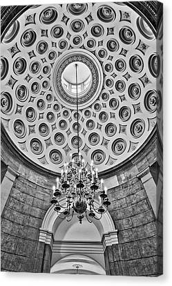 Canvas Print featuring the photograph Us Capitol Rotunda Washington Dc Bw by Susan Candelario