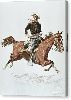 Remington Canvas Print - Us Cavalry Officer In Campaign Dress Of The 1870s by Frederic Remington