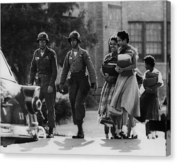Us Civil Rights. Paratroopers Canvas Print by Everett