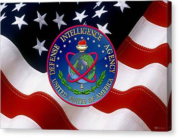 Canvas Print featuring the digital art U. S. Defense Intelligence Agency - D I A Emblem Over Flag by Serge Averbukh