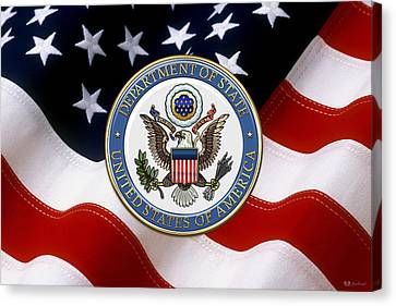 U. S. Department Of State - D O S Emblem Over American Flag Canvas Print by Serge Averbukh