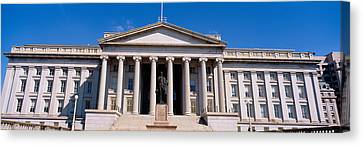 U.s. Department Of Treasury With Statue Canvas Print by Panoramic Images