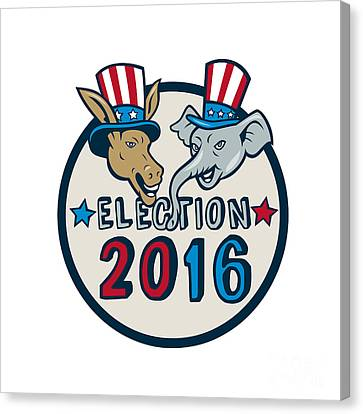 Us Election 2016 Mascot Donkey Elephant Circle Cartoon Canvas Print by Aloysius Patrimonio