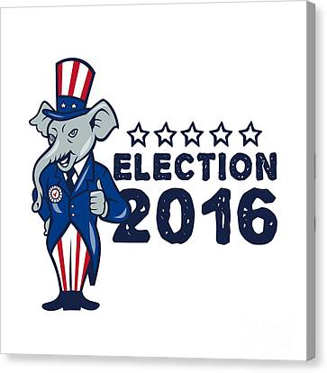 Us Election 2016 Republican Mascot Thumbs Up Cartoon Canvas Print by Aloysius Patrimonio