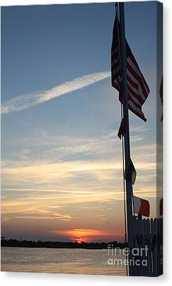 Us Flag At Sunset Canvas Print by John Telfer