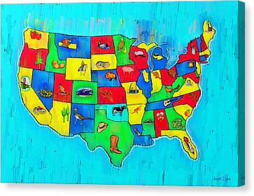 Us Map With Theme  - Free Style -  - Pa Canvas Print by Leonardo Digenio
