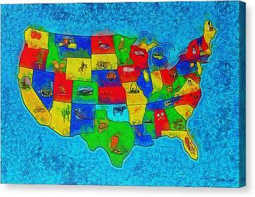 Us Map With Theme  - Special Finishing -  - Da Canvas Print by Leonardo Digenio