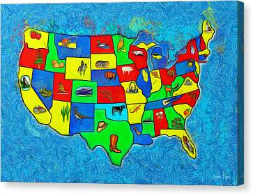 Us Map With Theme  - Van Gogh Style -  - Pa Canvas Print by Leonardo Digenio