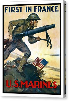 Us Marines - First In France Canvas Print by War Is Hell Store