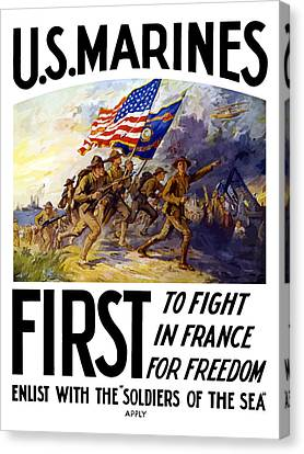 Recruiting Canvas Print - Us Marines - First To Fight In France by War Is Hell Store