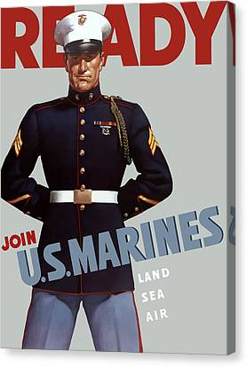 Vintage Canvas Print - Us Marines - Ready by War Is Hell Store