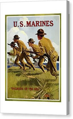 Us Marines - Soldiers Of The Sea Canvas Print by War Is Hell Store