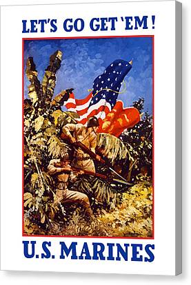 Recruiting Canvas Print - Us Marines - Ww2  by War Is Hell Store