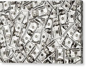 Banknotes Canvas Print - Us Money Dollar Background by Olivier Le Queinec