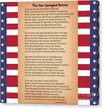 Us National Anthem - The Star-spangled Banner  Canvas Print by Celestial Images