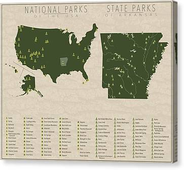 Us National Parks - Arkansas Canvas Print by Finlay McNevin