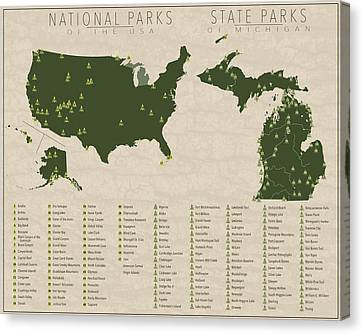 Us National Parks - Michigan Canvas Print by Finlay McNevin
