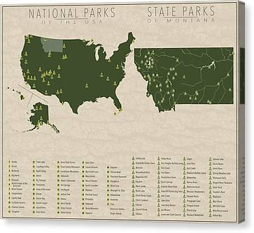 Us National Parks - Montana Canvas Print by Finlay McNevin