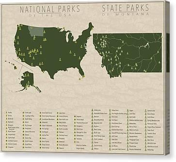 Us National Parks - Montana Canvas Print