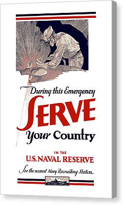 Us Naval Reserve Serve Your Country Canvas Print