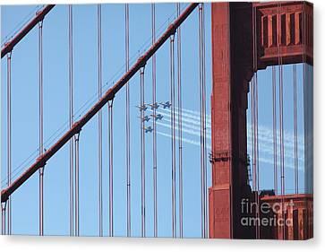 Us Navy Blue Angels Beyond The San Francisco Golden Gate Bridge - 5d18956 Canvas Print