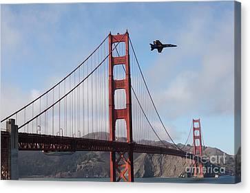 Us Navy Blue Angels Crossing The San Francisco Golden Gate Bridge - 5d18926 Canvas Print