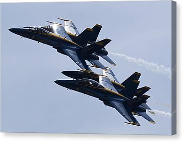 Us Navy Blue Angels In Formation Canvas Print by Dustin K Ryan
