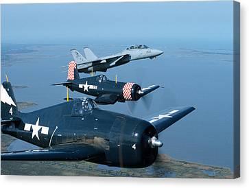 Us Navy Lagacy Flight  Canvas Print by John Clark