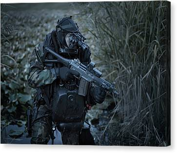 U.s. Navy Seal Equpped With Night Canvas Print by Tom Weber