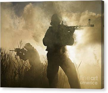 U.s. Navy Seals During A Combat Scene Canvas Print by Tom Weber