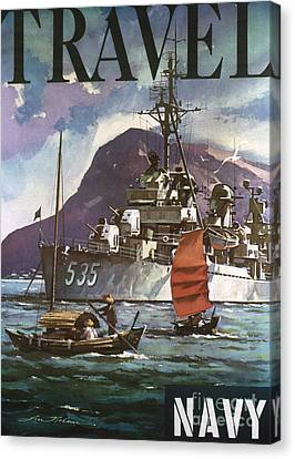 U.s. Navy Travel Poster Canvas Print by Granger